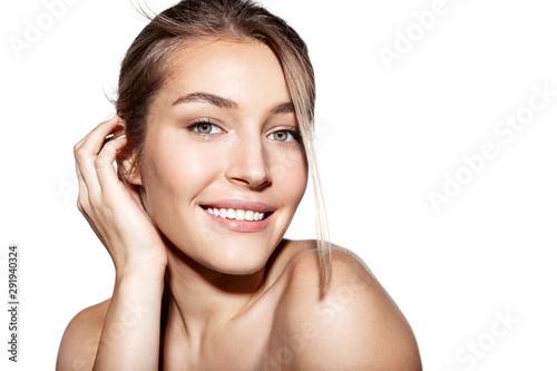 Obraz na plátně Woman with fresh clean skin after spa procedure