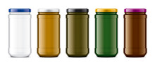 Set Of Colored Glass Jar.