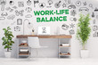 Leinwanddruck Bild - Work-Life-Balance als Business Konzept im Büro