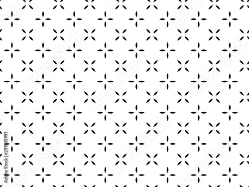 Türaufkleber Künstlich Flower geometric pattern. Seamless vector background. White and black ornament. Ornament for fabric, wallpaper, packaging. Decorative print