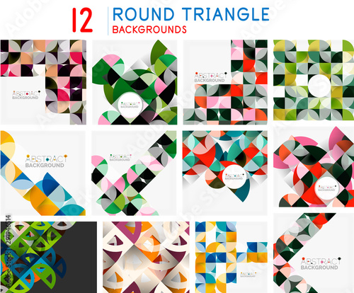 Obraz na plátně  Set of mosaic abstract backgrounds, geometric patterns with triangle shapes and