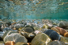 Pebbles Stone Underwater Below Water Surface