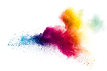 Colorful Powder Explosion On White Background.Pastel Color Dust Particle Splashing.