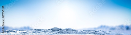 Fotografía  Winter background of snow and frost and free space for your decoration