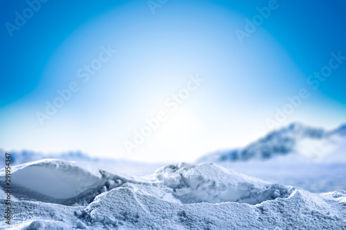 Foto auf AluDibond Himmelblau Winter background of snow and frost and free space for your decoration.