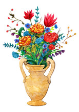 Vase With A Bouquet In The Ren...