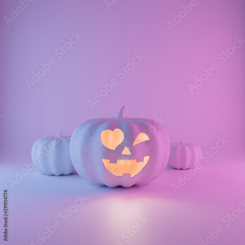 Photo  Halloween neon glowing Pumpkin with friendly face on pastel pink blue and violet  background