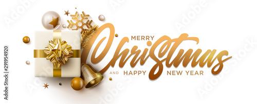 Fototapeta Merry Christmas and New Year greeting card design. obraz