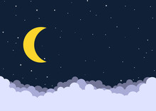 Night Cloudy Sky Background Wi...