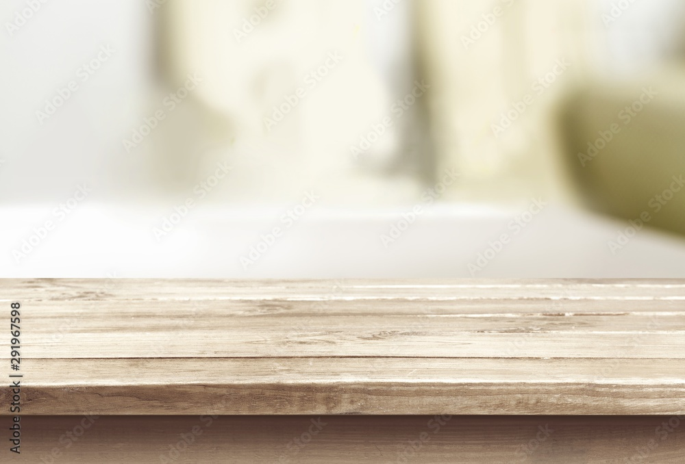 Fototapeta Wod table and blur with bokeh background