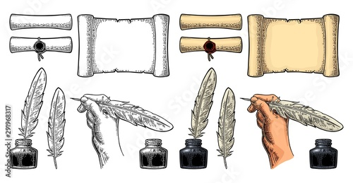 Inkwell and female hand holding a goose feather. Vector engraving Canvas-taulu