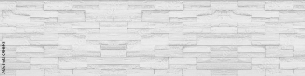 Fototapety, obrazy: white clean Slate Marble Split Face Mosaic  pattern and background brick wall floor top view