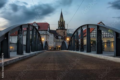 Brücke in Rotenburg an der Fulda Altstadt, Dämmerung, Hessen, Deutschland, Europa