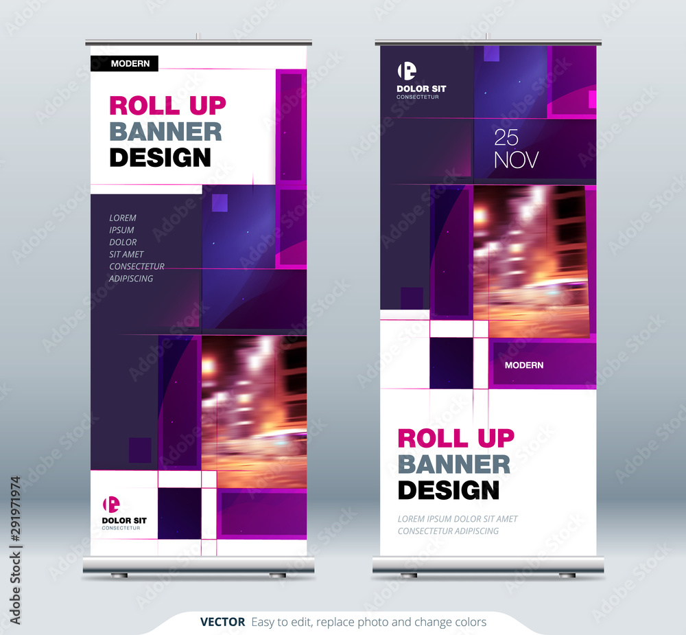 Fototapeta Violet Business Roll Up Banner stand. Presentation concept. Abstract modern roll up background. Vertical roll up template, banner stand or flag design layout. Poster for conference, forum, shop