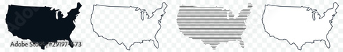 Obraz US Map Black | USA Border | United States Country | America | Transparent Isolated | Variations - fototapety do salonu