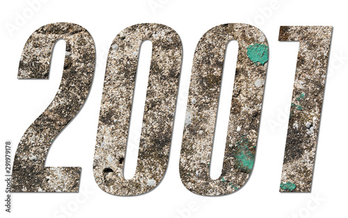 Fotografia  Year 2001 with old concrete wall on white background