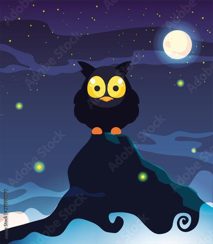 barn owl with moon in scene of halloween
