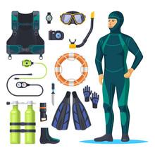 Diver In Scuba Diving Suit, Snorkeling Man.