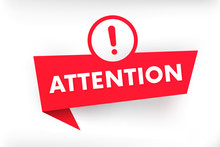 Attention Red Vector Banner With Exclamation Mark.