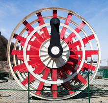 Close Up Of Red Riverboat Paddle Wheel.