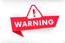 Isolated Warning Banner Vector...
