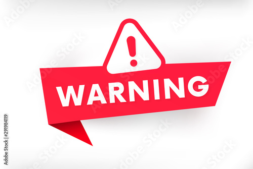 Isolated warning banner vector illustration. Attention sign. Принти на полотні