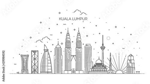 Kuala Lumpur skyline . Vector illustration Wallpaper Mural