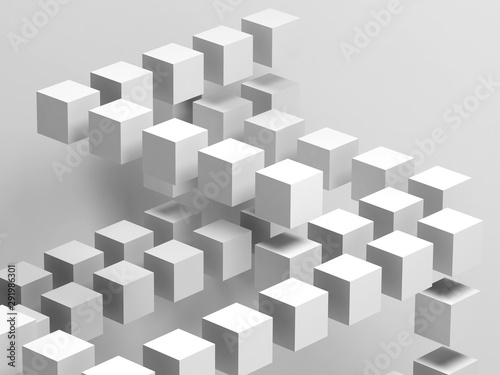White flying cubes installation. Abstract 3 d - 291986301