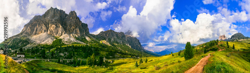 Fotobehang Landschappen Breathtaking Alpine scenery, Dolomite mountains. beautiful valley near Cortina d'Ampezzo, northen Italy