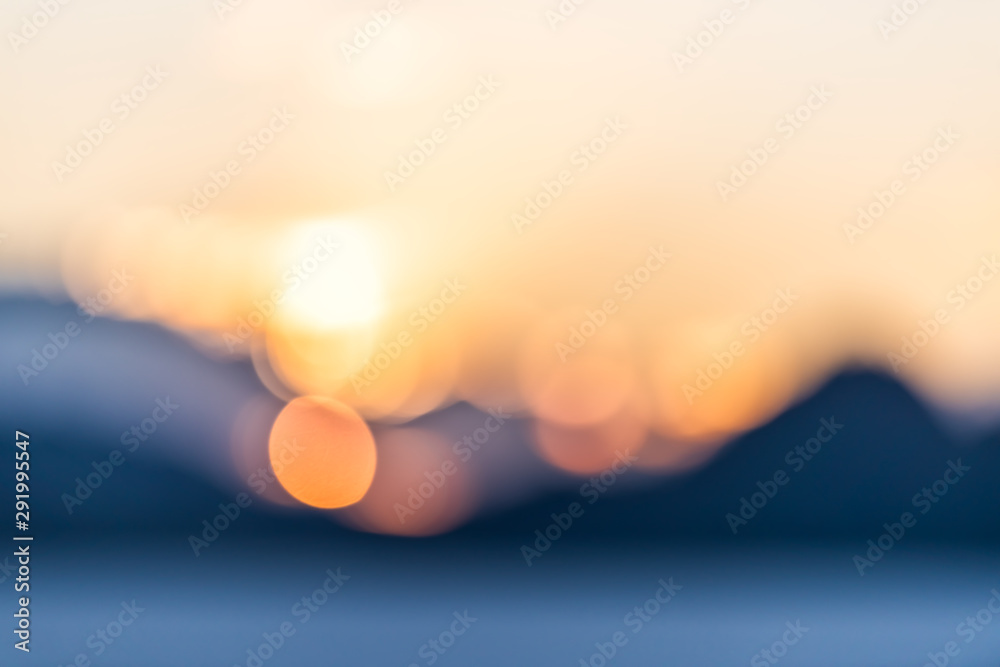 Fototapety, obrazy: Bonneville Salt Flats abstract bokeh view of mountains silhouette and sunset sunlight circles near Salt Lake City, Utah