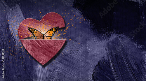 Fényképezés Graphic abstract butterfly escapes opening heart background