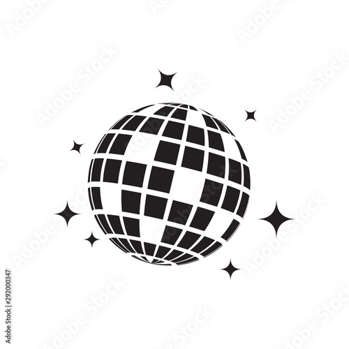 Cuadros en Lienzo Disco ball graphic design template vector isolated