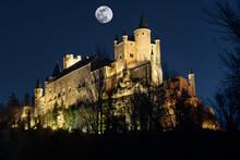 Full Moon In The Alcazar Of Segovia, Spain In Christmas