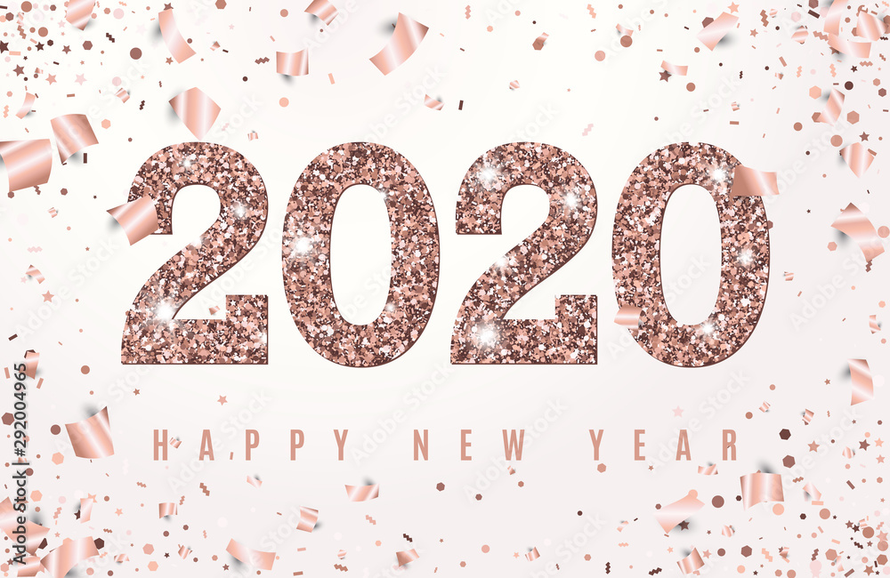 Fototapety, obrazy: Happy New Year Banner with glowing Rose Gold 2020 Numbers on white Background with Flying geometric and foil paper Confetti. Vector illustration. All isolated and layered