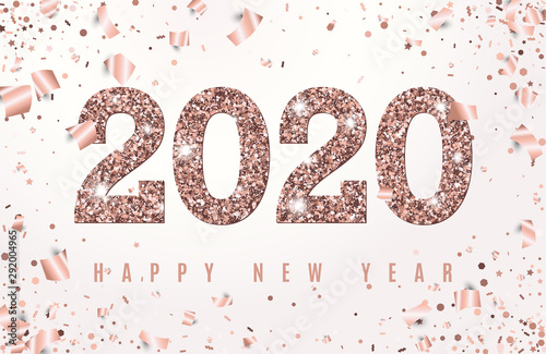 Obraz Happy New Year Banner with glowing Rose Gold 2020 Numbers on white Background with Flying geometric and foil paper Confetti. Vector illustration. All isolated and layered - fototapety do salonu