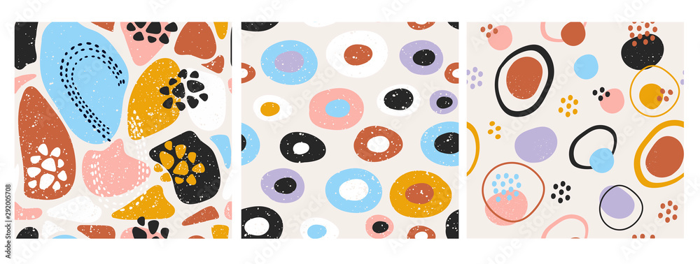 Fototapeta Hand drawn various round and elipse shapes and dots. Doodle objects. Abstract contemporary modern trendy vector illustration. Set of three seamless patterns. Pastel colors. Perfect for textile prints