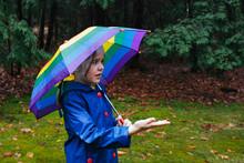 Young Girl With Umbrella Feeli...