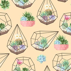 FototapetaHigh detail succulent and cactus seamless pattern