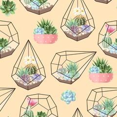 Panel Szklany Podświetlane Do przedpokoju High detail succulent and cactus seamless pattern