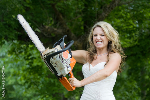 Bridezilla - Angry Bride with Chainsaw Canvas Print