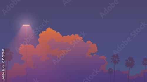 Fototapeta  nostalgic sunset sky aesthetic background