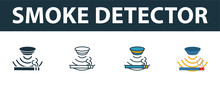 Smoke Detector Icon Set. Premi...