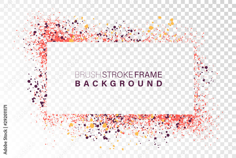 Fototapeta Hand drawn grunge frame rectangular shape. Various colors splaches with copy space. Abstract artistic horizontal background.