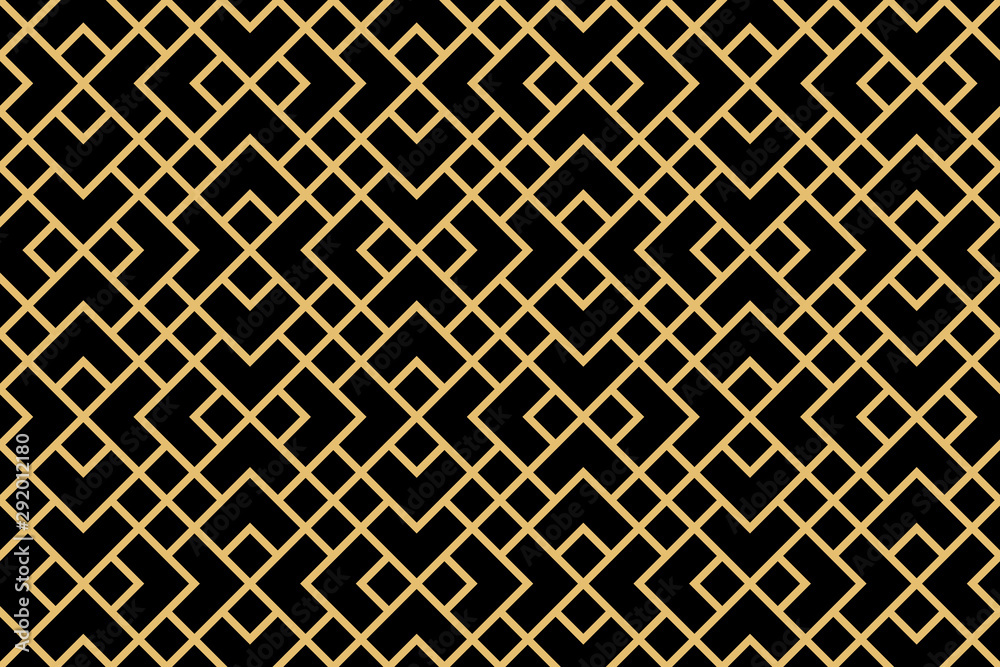 Fototapeta The geometric pattern with lines. Seamless vector background. Gold and black texture. Graphic modern pattern. Simple lattice graphic design