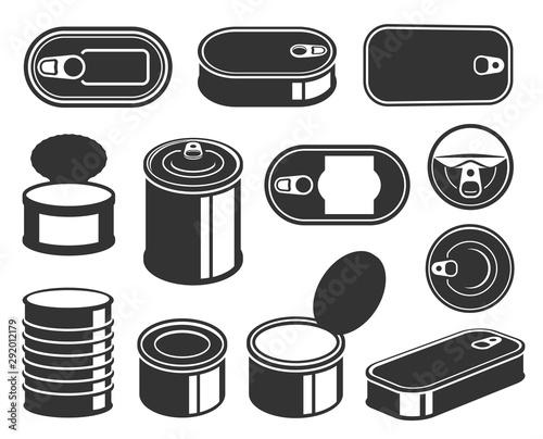 Fotografía Tin cans black glyph icons vector set