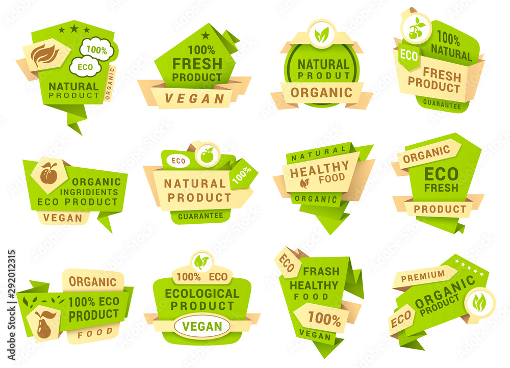 Fototapety, obrazy: Natural product labels, patches vector templates set