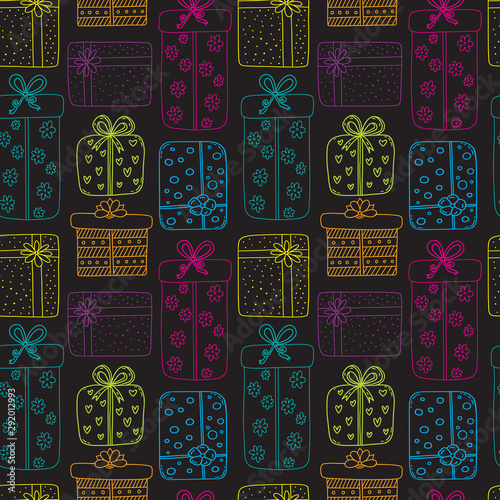 Türaufkleber Künstlich Gifts seamless pattern. New year or Christmas background. Holiday pattern with gift boxes. Wrapping colorful paper design.