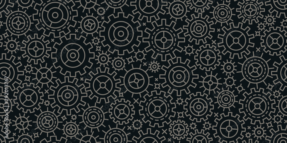 Fototapeta Gears seamless background. Business, industry, technology concept. Vector