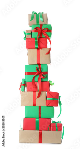 Fotografía  Stack of Christmas gift boxes isolated on white