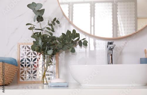 Fototapeta Stylish bathroom interior with beautiful eucalyptus branches and vessel sink obraz